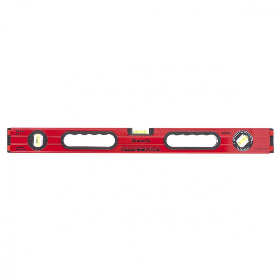 Уровень алюминиевый, 600 мм, фрезерованный, 3 глазка (1 поворотный), две ручки, усиленный MATRIX