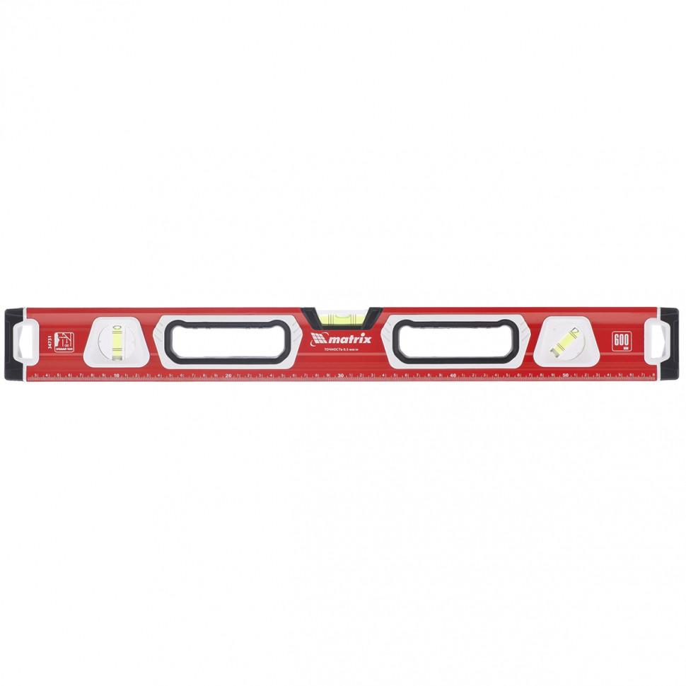 Уровень алюминиевый, магнит, фрезерованный, 3 глазка (1 зеркал.), 2 компонентные рукоятки, 600 мм MATRIX