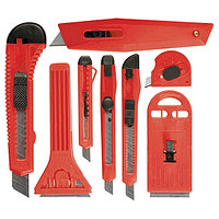 Набор ножей, выдвижные лезвия, 9мм-4, 18мм-2,+скребки выдвижн. фиксир.лезв.,40-52мм,2шт MATRIX