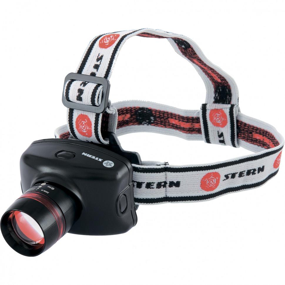 Фонарь наголовный Zoom, 3W LED CRE Q5, 160Лм, 100 м,3 режима: 100%-50%-строб, 3хААА Stern