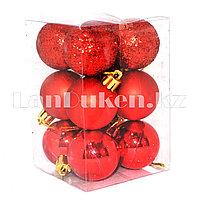 Набор елочных шаров 12 шт. (красный цвет)