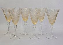 Фужеры для воды, вина. Белое с золотом. Венецианское стекло, ручная работа. Италия