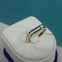 Кольцо с цирконом мужское / красное золото