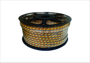 Двухрядная светодиодная лента (прямоугольный дюралайт) 220v 2835 (теплый белый) бухта - 100м.
