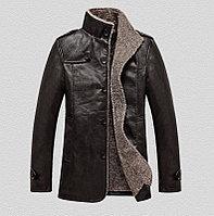 PU Кожаная куртка с толстым ворсистым подкладом коричневого цвета