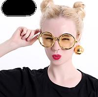 Карнавальные очки с диско-шарами золотые