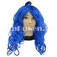 Синий карнавальный парик с челкой 40-50 см