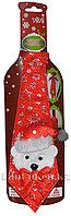 Галстук новогодний с медвежонком красный 22 см