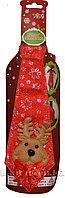 Галстук новогодний для бутылок с оленями красный 22 см