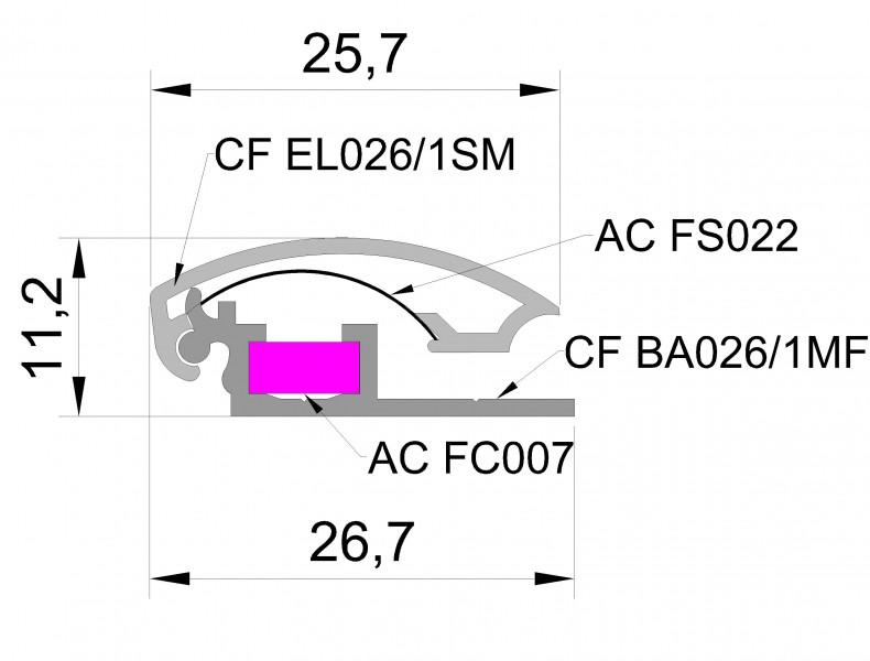 Алюминиевый профиль с клик системой(часто сменной информацией) 25мм