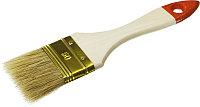 """Кисть плоская ЗУБР """"УНИВЕРСАЛ-ОПТИМА"""", светлая щетина, деревянная ручка, 100мм"""