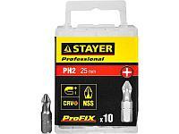 """Биты STAYER """"PROFESSIONAL"""" ProFix Phillips, тип хвостовика C 1/4"""", № 2, L=25мм, 10шт"""