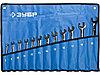 """Набор ЗУБР """"ПРОФИ"""": Ключ гаечный комбинированный трещоточный, Cr-V сталь, хромированный, 8-22мм, 12шт"""