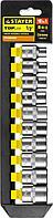 """Набор STAYER """"STANDARD"""": Торцовые головки (1/2"""") на пластиковом рельсе, 10-19мм, 10 предметов"""