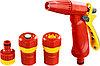 """Набор GRINDA поливочный: Распылитель пистолетный с регулируемым соплом, соединитель 1/2"""", соединитель 1/2"""" с автостопом, адаптер внешний 1/2""""-3/4"""""""
