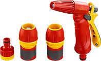 """Набор GRINDA """"PREMIUM"""" поливочный: Распылитель пистолетный с регулируемым соплом, 2 универсальных соединителя, адаптер внешний 1/2""""-3/4"""""""