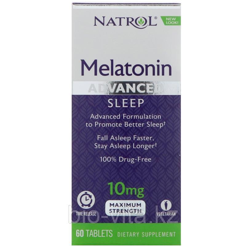 Мелатонин для спокойного сна, максимальное действие, 10 мг, 60 таблеток.  Natrol