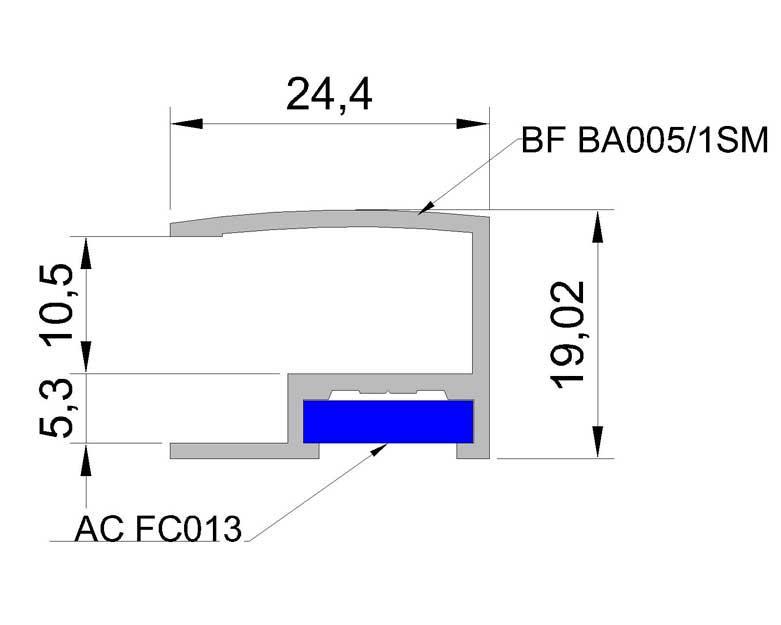 Baget № 5 алюминиевый багетный профиль (Золото, серебро, бронза)