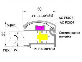Односторонний алюминиевый профиль для ультратонких световых панелей с клик системой