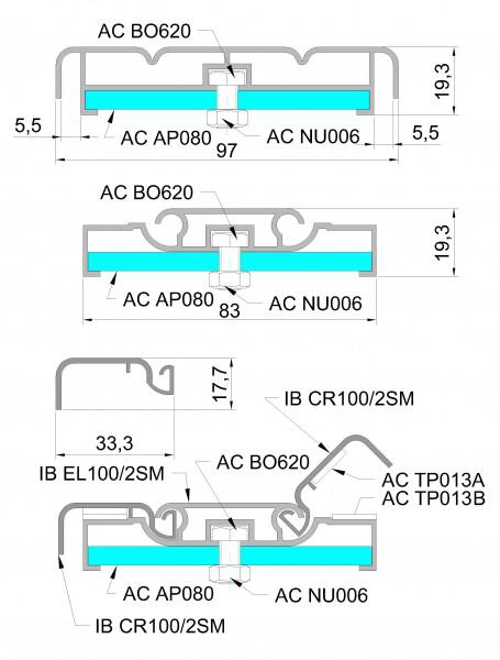 Алюминиевый профиль для уличного лайтбокса 100мм