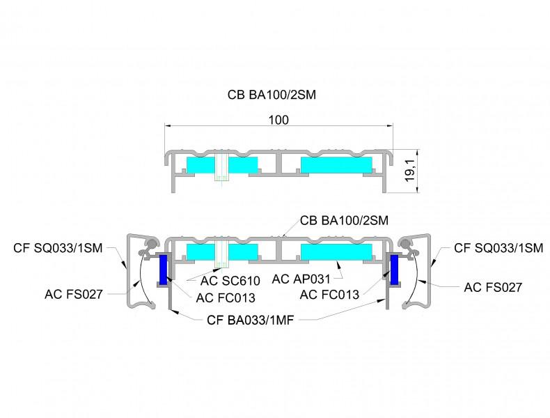 Базовый короб 100мм для светового короба с установкой клик рамки