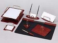 Набор настольный 8 предметов, дерево, красное дерево(отделка метал.фурнитурой)