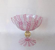 Фруктовница из венецианского стекла, Италия. Ручная работа