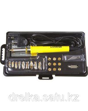 Пирограф прибор для выжигания по дереву STAYER 45227, PROFESSIONAL, 3 в 1, с набором насадок 20 шт., фото 2