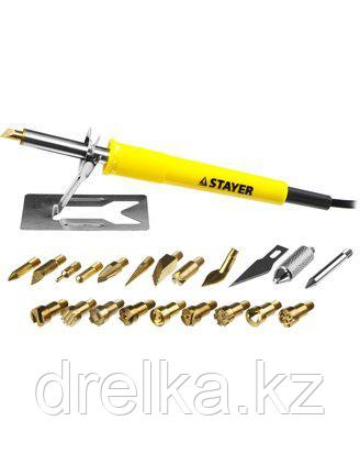 Пирограф прибор для выжигания по дереву STAYER 45227, PROFESSIONAL, 3 в 1, с набором насадок 20 шт.