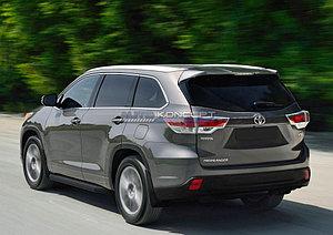 """Порог-площадка """"Black"""" Toyota Highlander  2010-2013"""