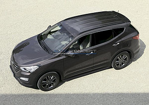 "Порог-площадка ""Black"" Hyundai Santa Fe 2010-2012"