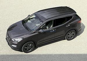 "Порог-площадка ""Black"" Hyundai Santa Fe 2006-2010"