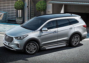 """Порог-площадка """"Silver""""  Hyundai Grand Santa Fe 2013-2015"""