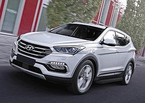 "Порог-площадка ""Black"" Hyundai Santa Fe 2012-2015"
