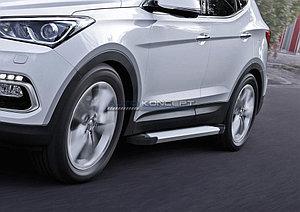 """Порог-площадка """"Silver""""  Hyundai Santa Fe 2012-2015"""