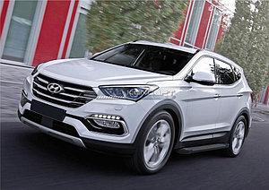 "Порог-площадка ""Black""  Hyundai Santa Fe 2015-"