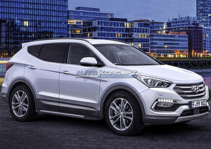 "Порог-площадка ""Bmw-Style"" Hyundai Santa Fe Premium 2015-2016"