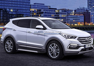 "Порог-площадка ""Silver""  Hyundai Santa Fe Premium 2015-2016"