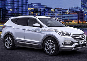 "Порог-площадка ""Black""  Hyundai Santa Fe Premium 2015-2016"