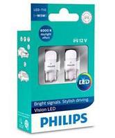 PHILIPS Vision LED Автомобильная лампа T10, Белый свет, 6000 К, Габаритные огни и лампы для салона