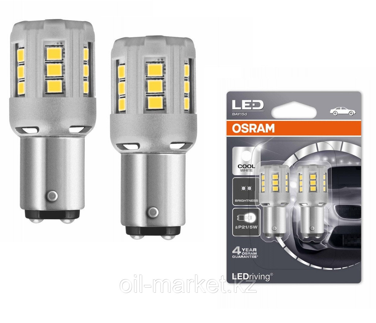 OSRAM Лампа светодиодная LED P21/5W 12V 2/0.4W BAY15d standard retrofit / холодный белый / 6000K / P21/5W