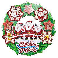 Новогодний (рождественский) венок на дверь с объемными элементами