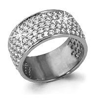 Кольцо из серебра с фианитом   Аквамарин 61290А