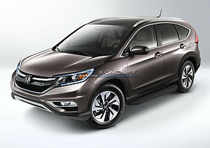 "Порог-площадка ""Black"" Honda CR-V 2012-2014"