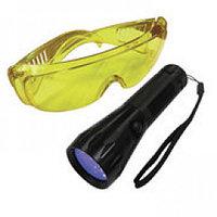 Фонарь ультрафиолетовый и очки для поиска утечек фреона
