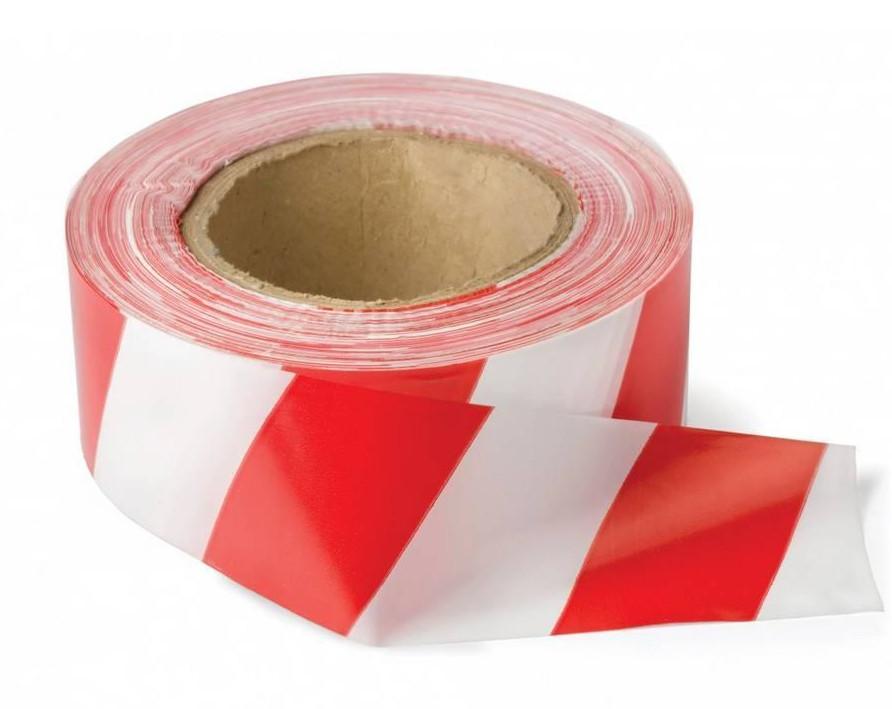 Лента оградительная сигнальная красно-белая 200м