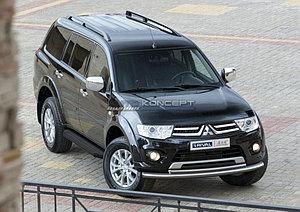 "Порог-площадка ""Black"" Mitsubishi Pajero Sport 2013-2016"