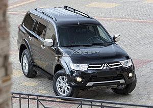 "Порог-площадка ""Black""  Mitsubishi Pajero Sport 2008-2013"