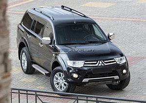 "Порог-площадка ""Silver""  Mitsubishi Pajero Sport 2008-2013"