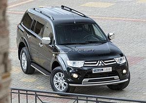 """Порог-площадка """"Premium"""" Mitsubishi Pajero Sport 2008-2013"""